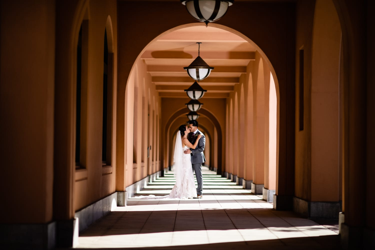 Bride and groom in Liberty Station in San Diego, CA.