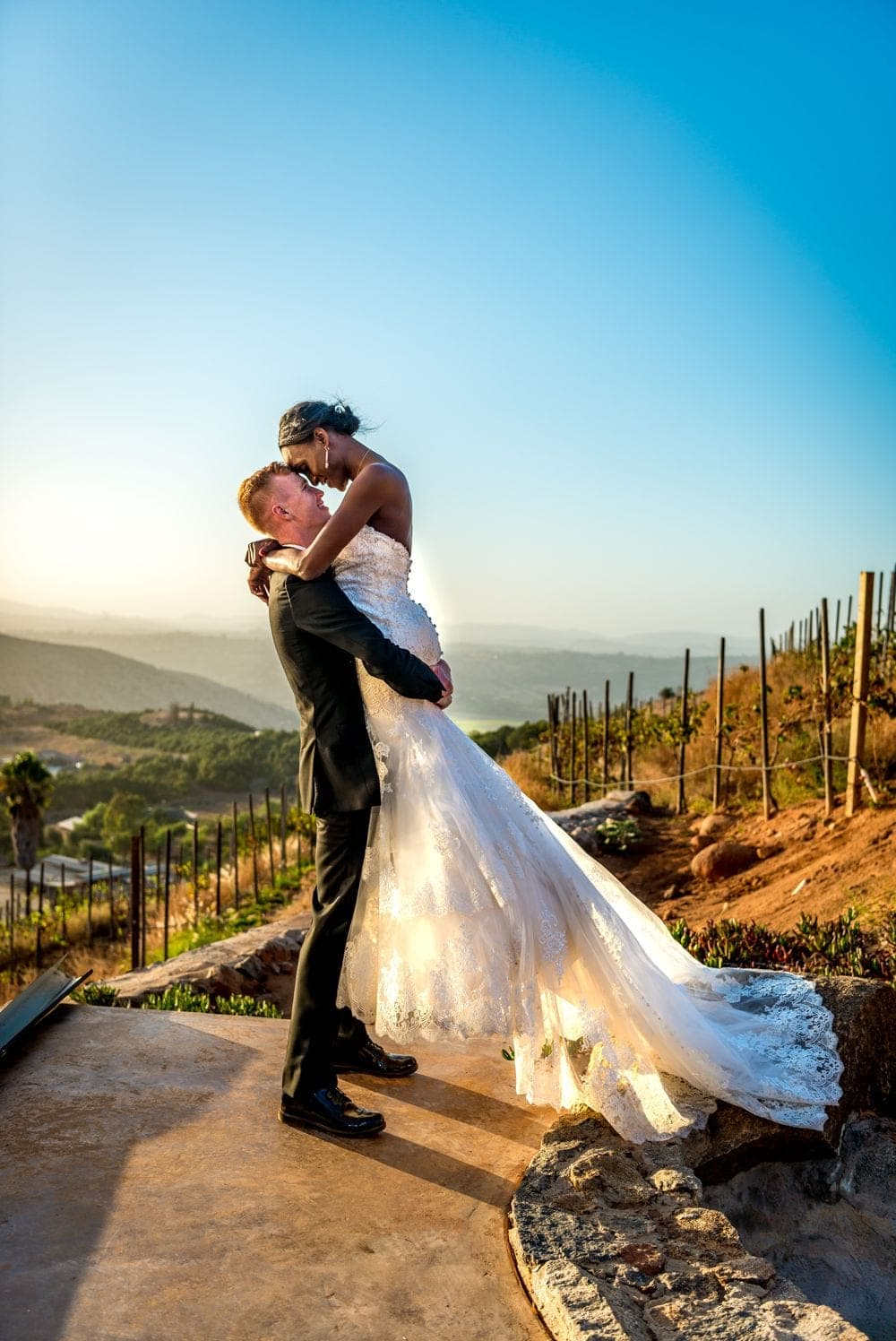 Cordiano winery wedding sunset photography in Escondido California.