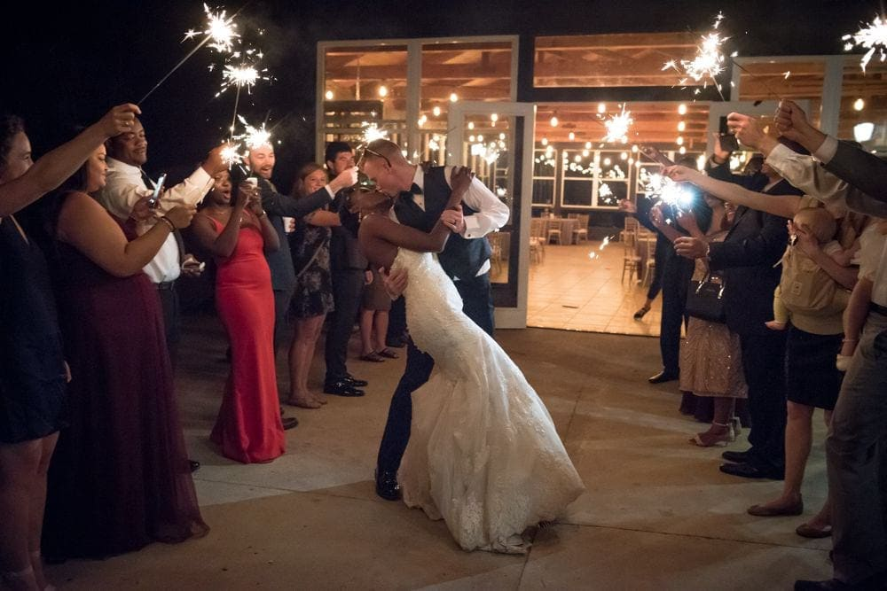 Cordiano Winery Wedding photography sparkler send off.
