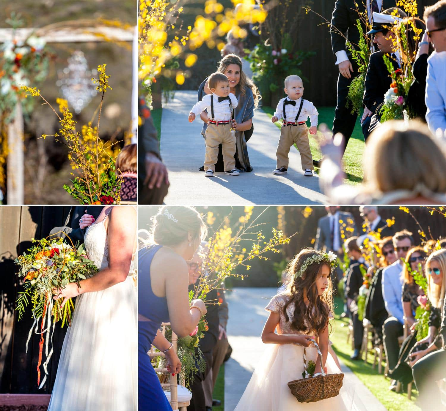 Yellow wedding flowers at ceremony site and ring bearers in suspenders and bow ties.