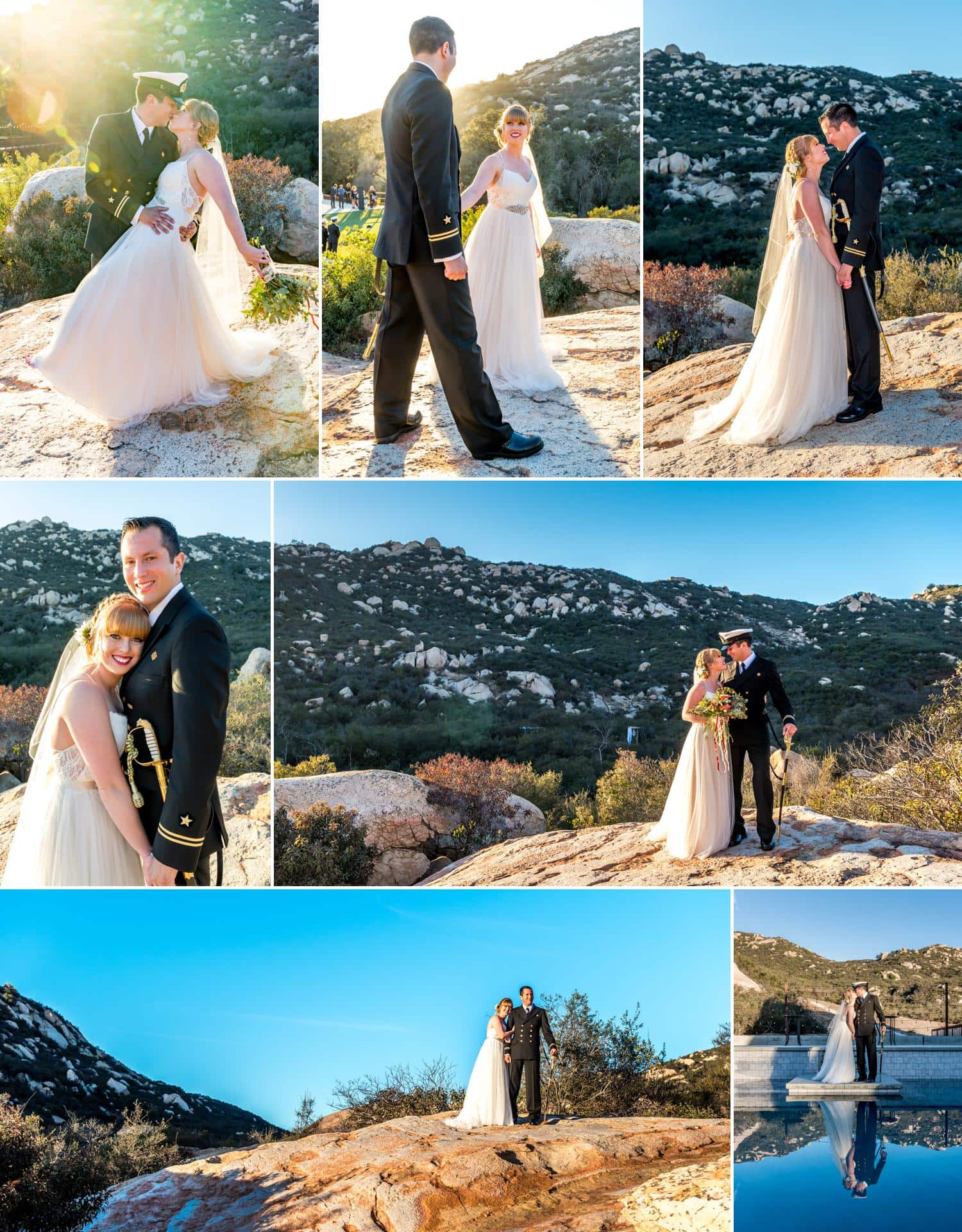 Wedding day outdoor portraits at sunset.