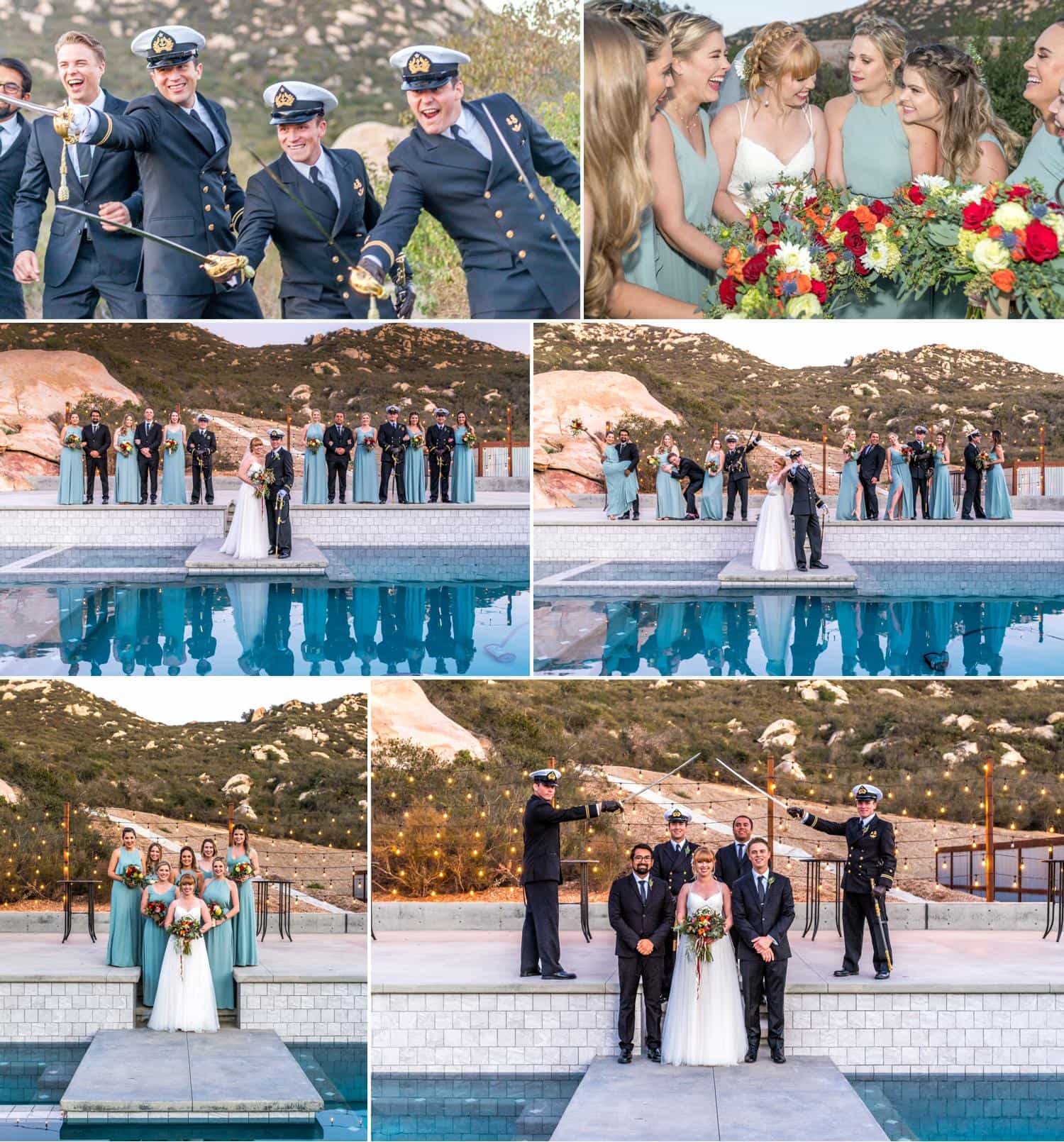 Bridal party portraits in navy uniform.
