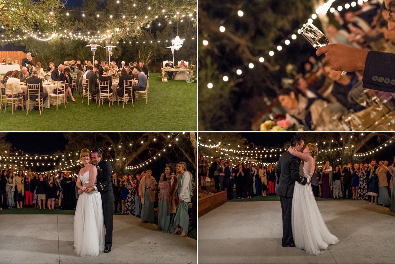 Market lights at wedding reception.
