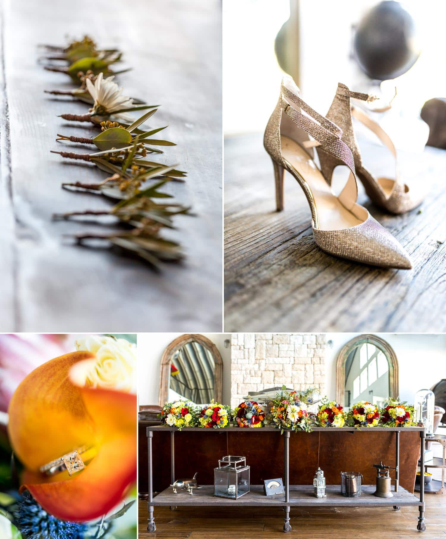 Wedding day details bridal shoes, boutonnieres and rustic wedding flowers.
