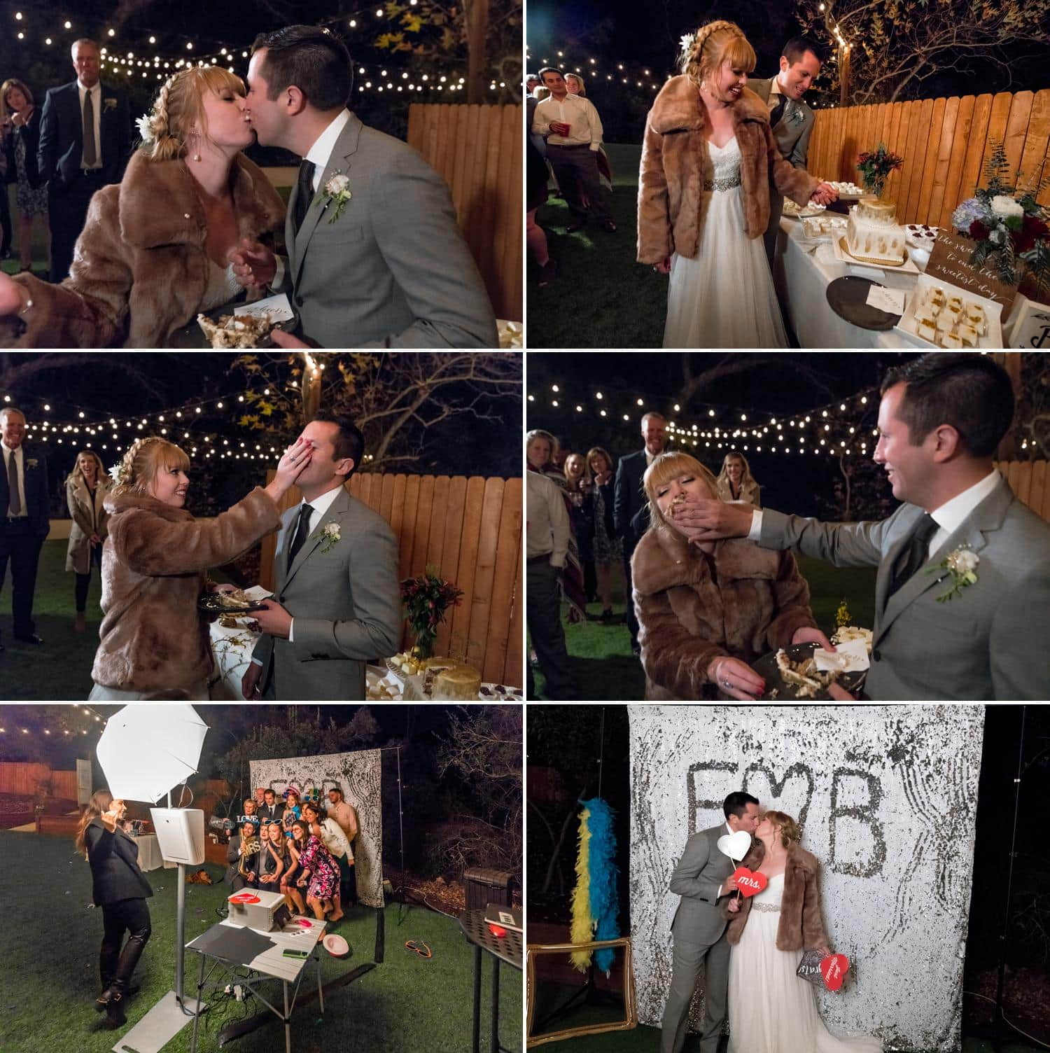 Bride in fur jacket cutting wedding cake and pictures at wedding photo booth.