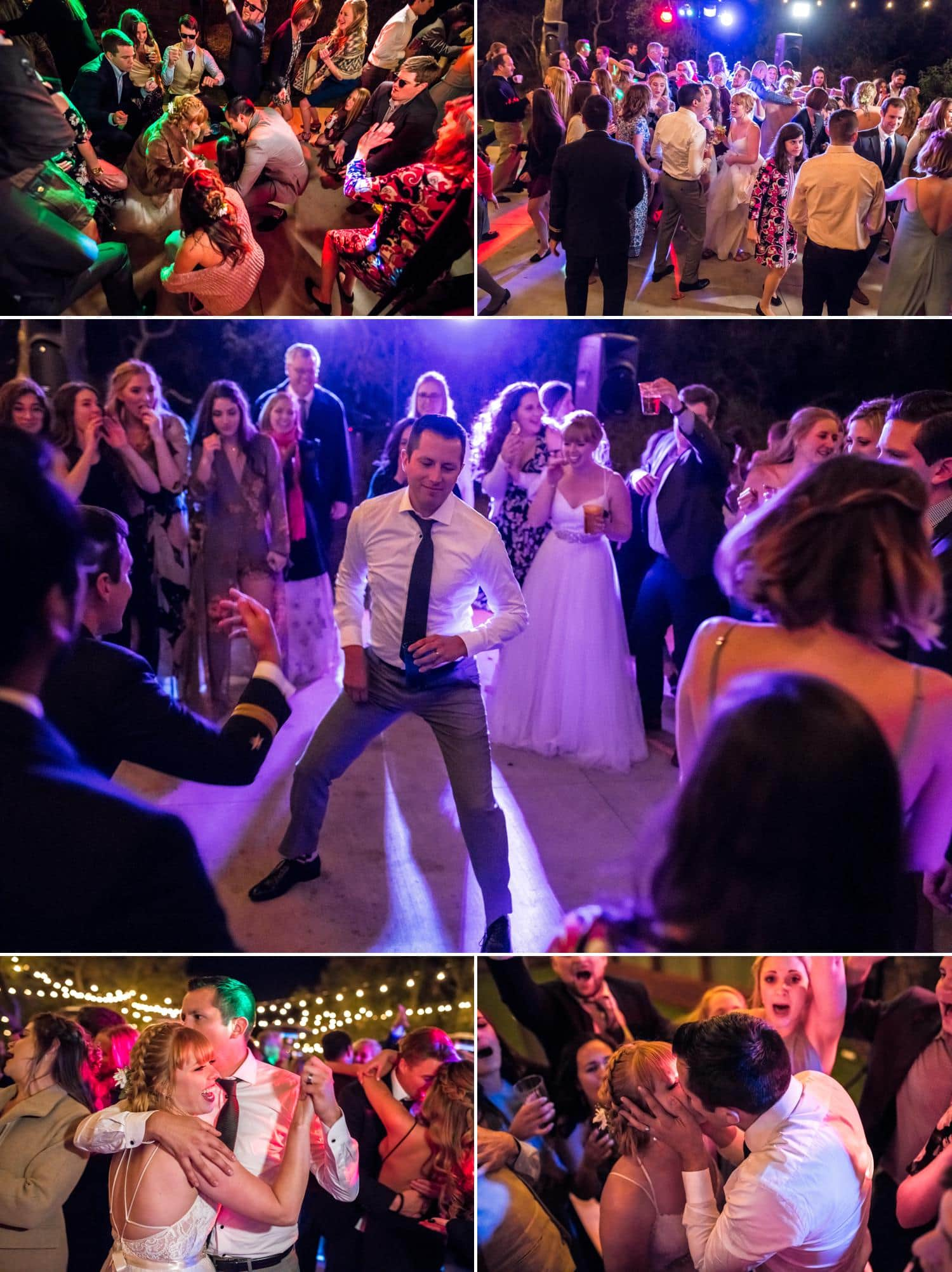 Colorful lights and dancing at wedding reception.