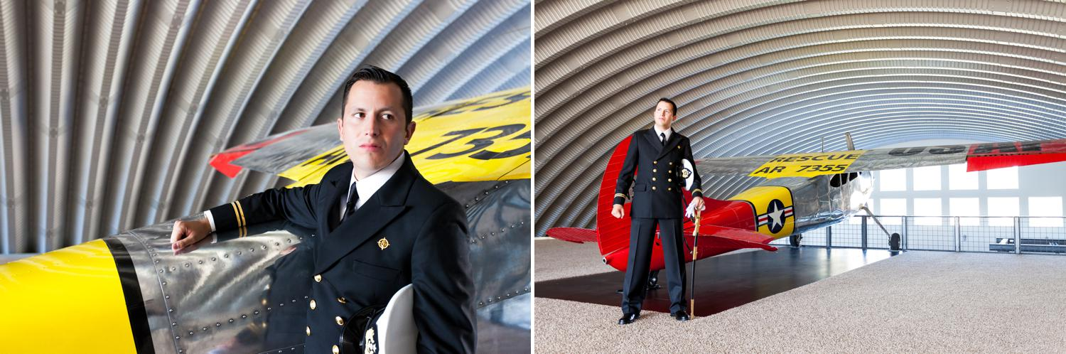 Groom portraits in navy uniform by airplane.
