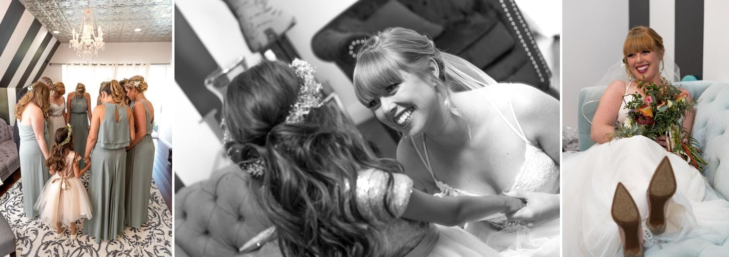 Bridal party preparation before ceremony.