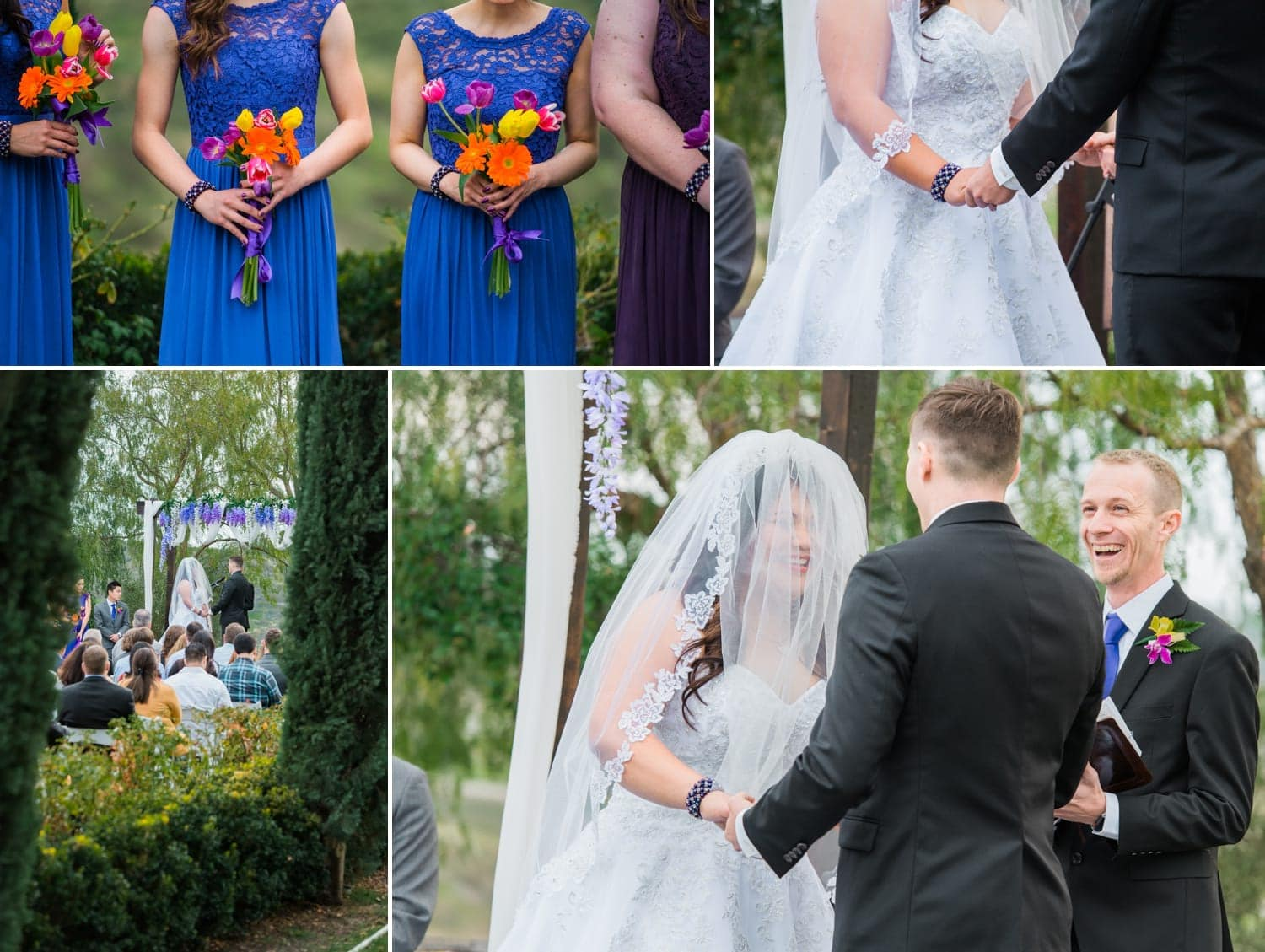Photography from wedding ceremony at Falkner Winery.
