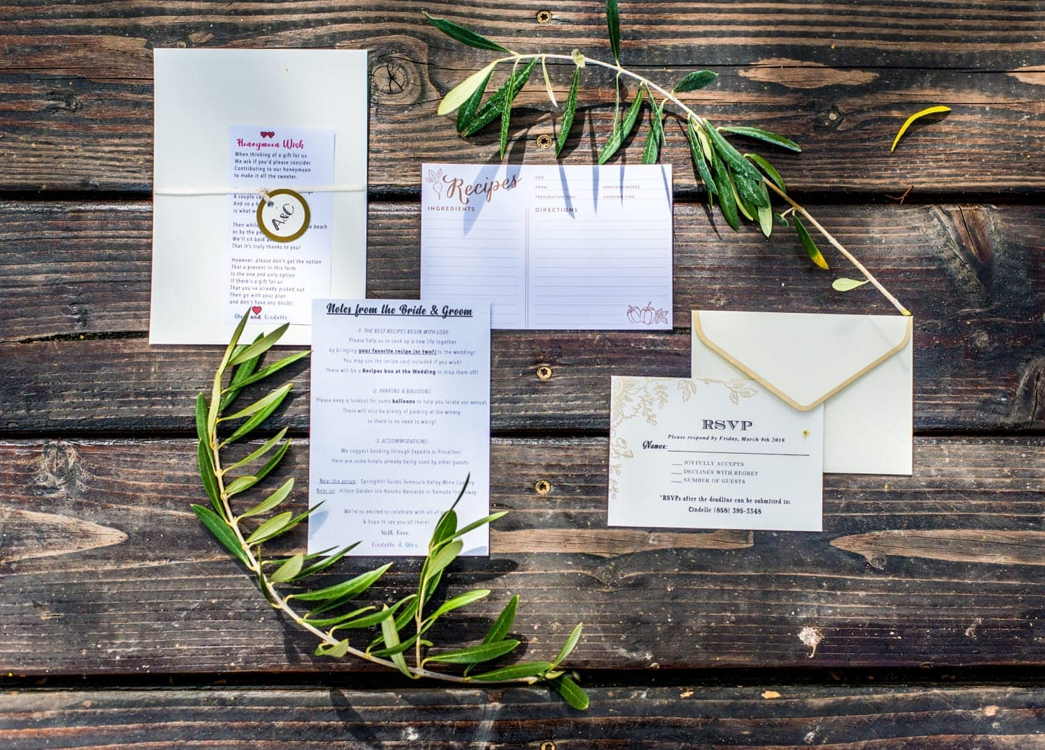 Wedding Invitations and RSVP cards laid on a table.
