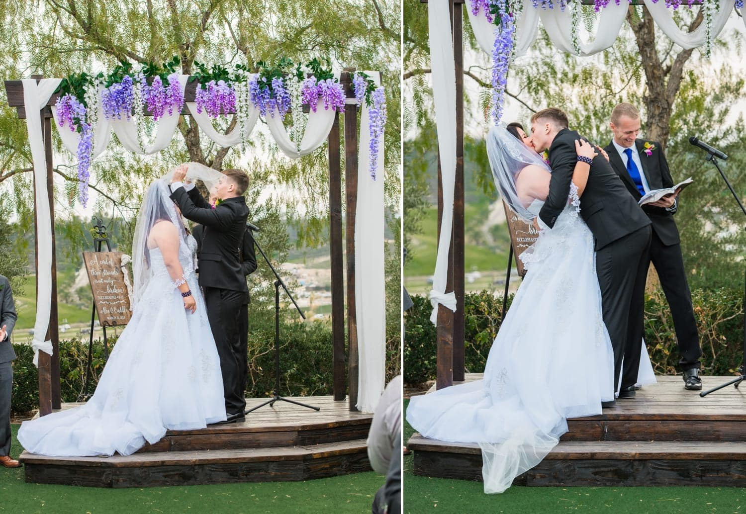 Photograph of a bride and groom having their first kiss as husband and wife.