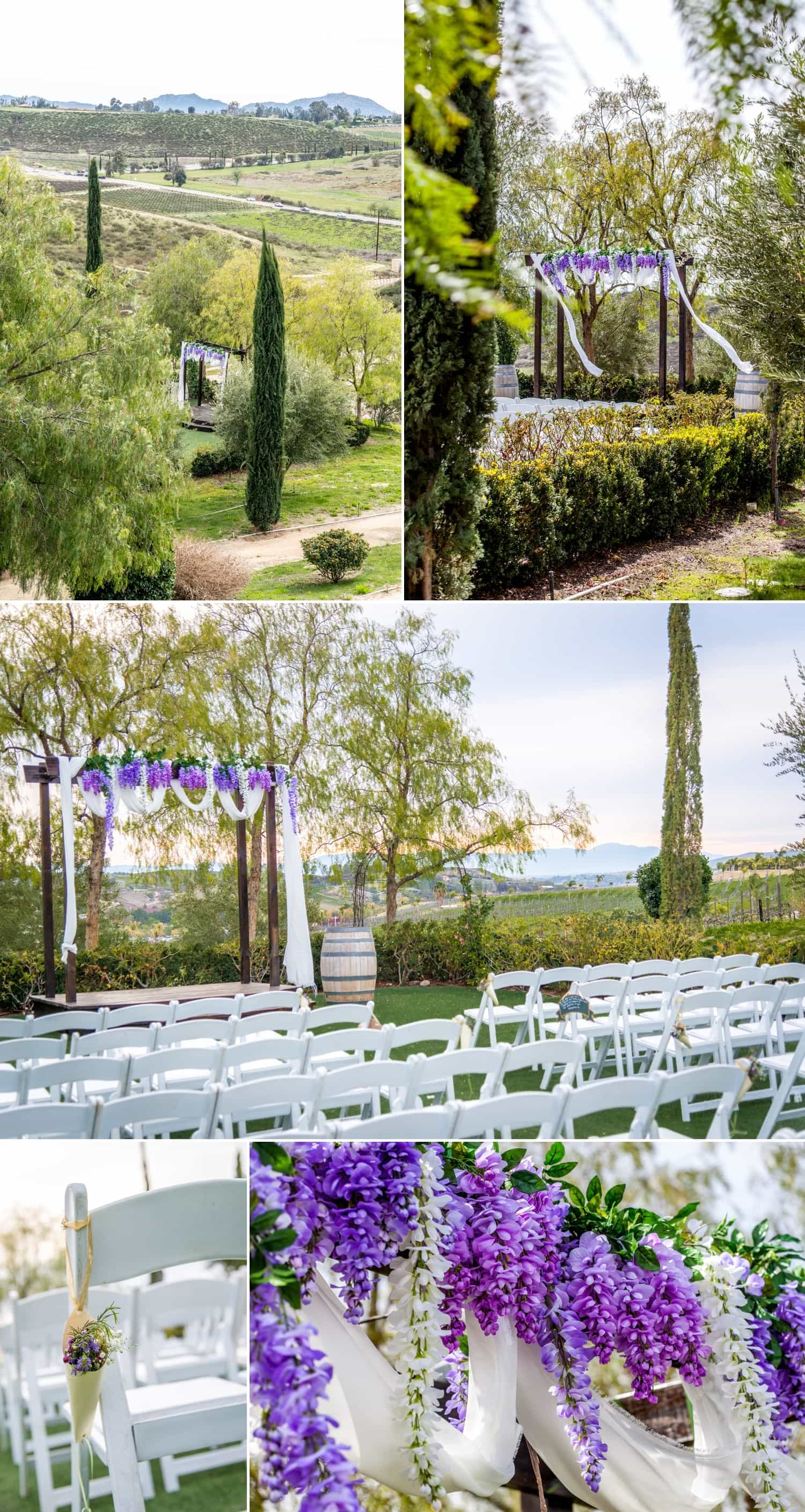 Photography of the ceremony site at Falkner Winery.