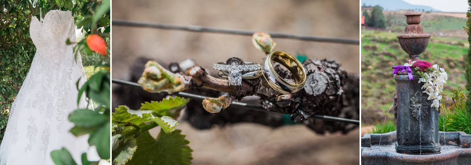 Wedding rings and Wedding Dress at Falkner Winery.