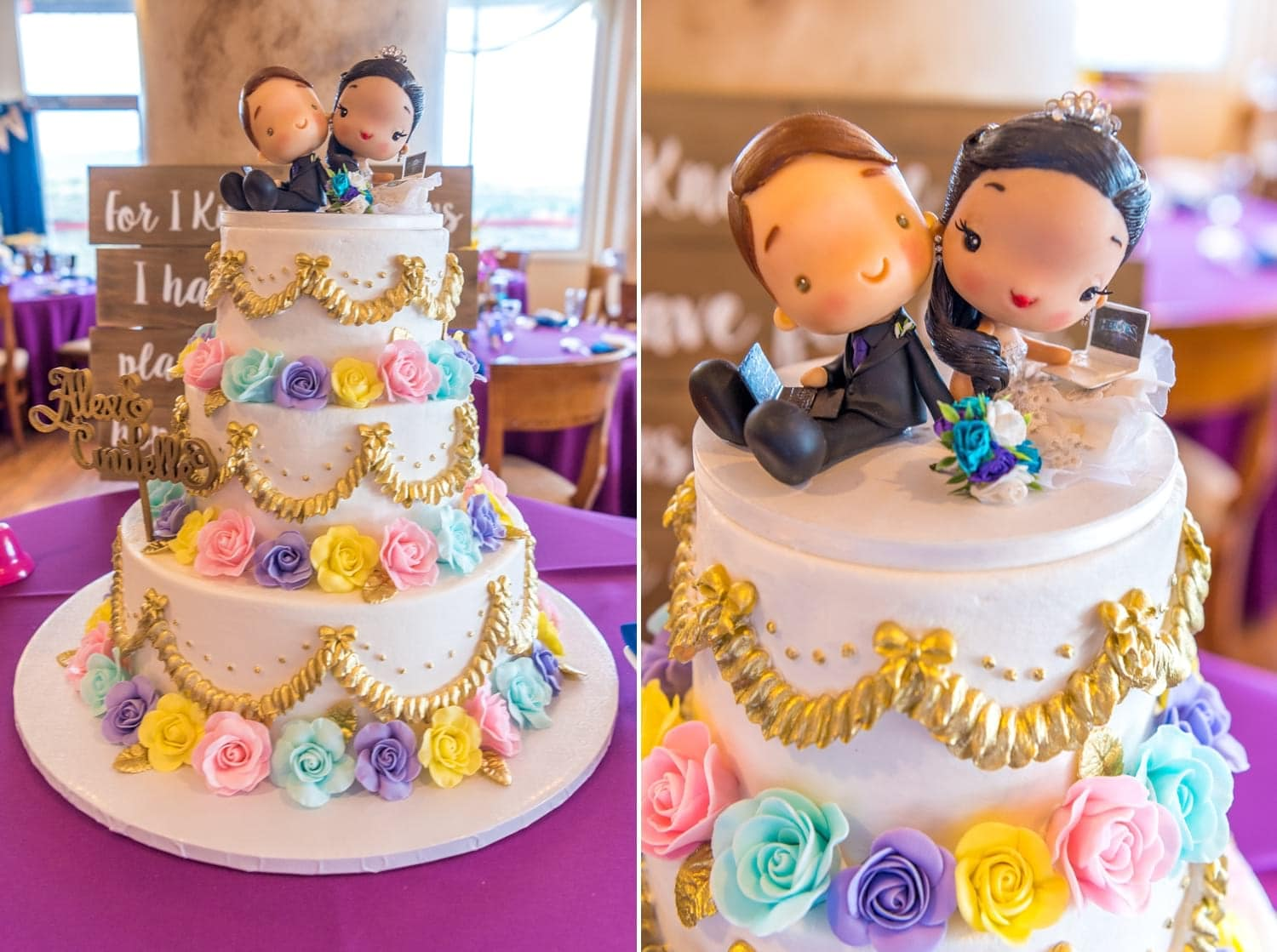 Image of wedding cake and wedding cake topper.