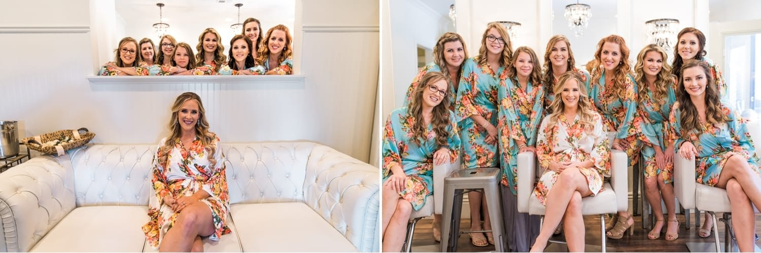 Bride and bridesmaids in the bridal suite.