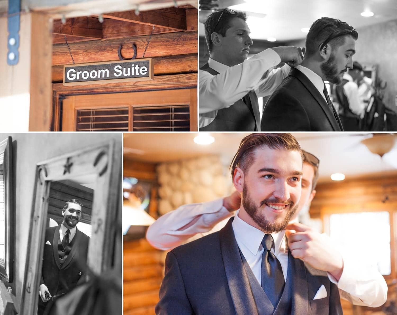 Groom getting ready in the groom's suite.