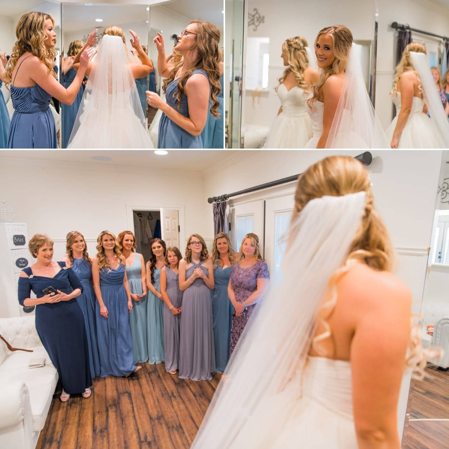 Bridesmaids reaction to the bride in her dress.