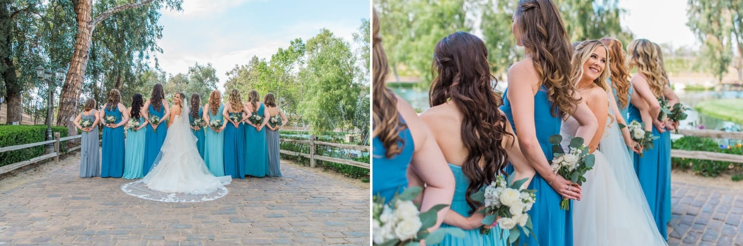 Bride and bridesmaids holding each other.