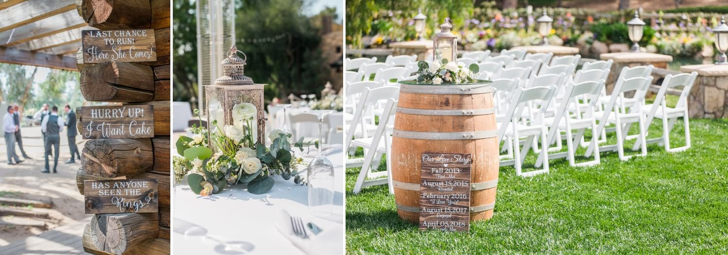 Wine barrel at ceremony site and table details and ring bearer signs.