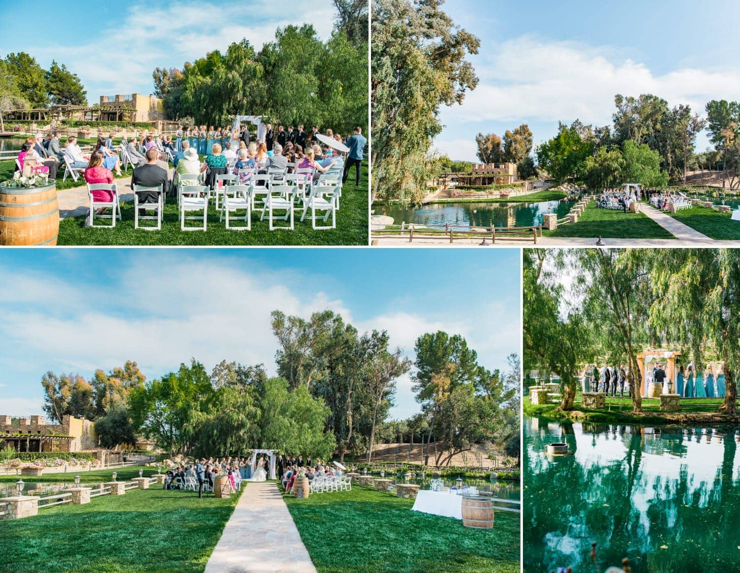 varying views of the ceremony site at Lake Oak Meadows venue.