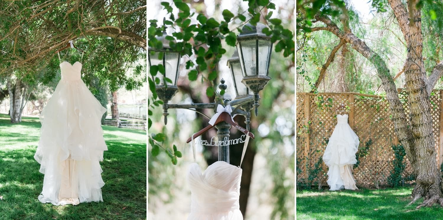 Wedding dress hanging from a tree and light post.