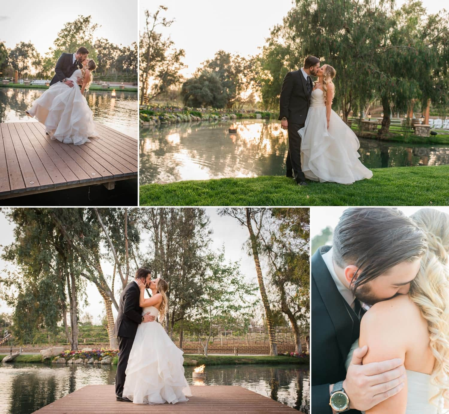 Groom dipping bride for a kiss on the dock at Lake Oak Meadows.