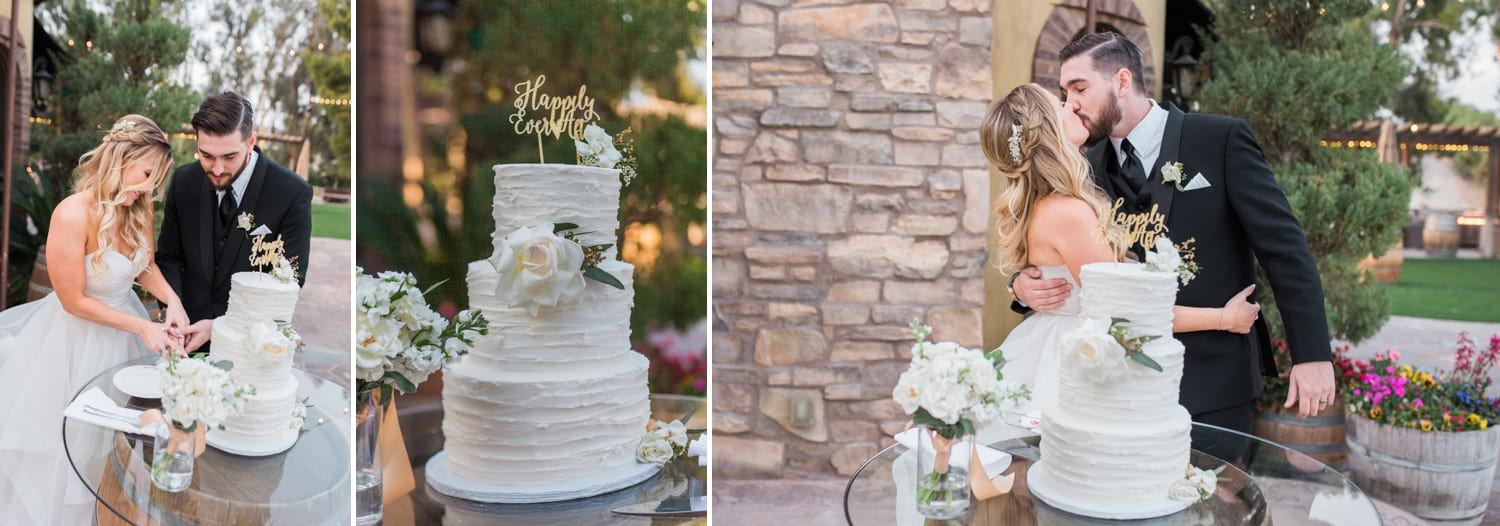 Bride and groom cutting their cake at Lake Oak Meadows.
