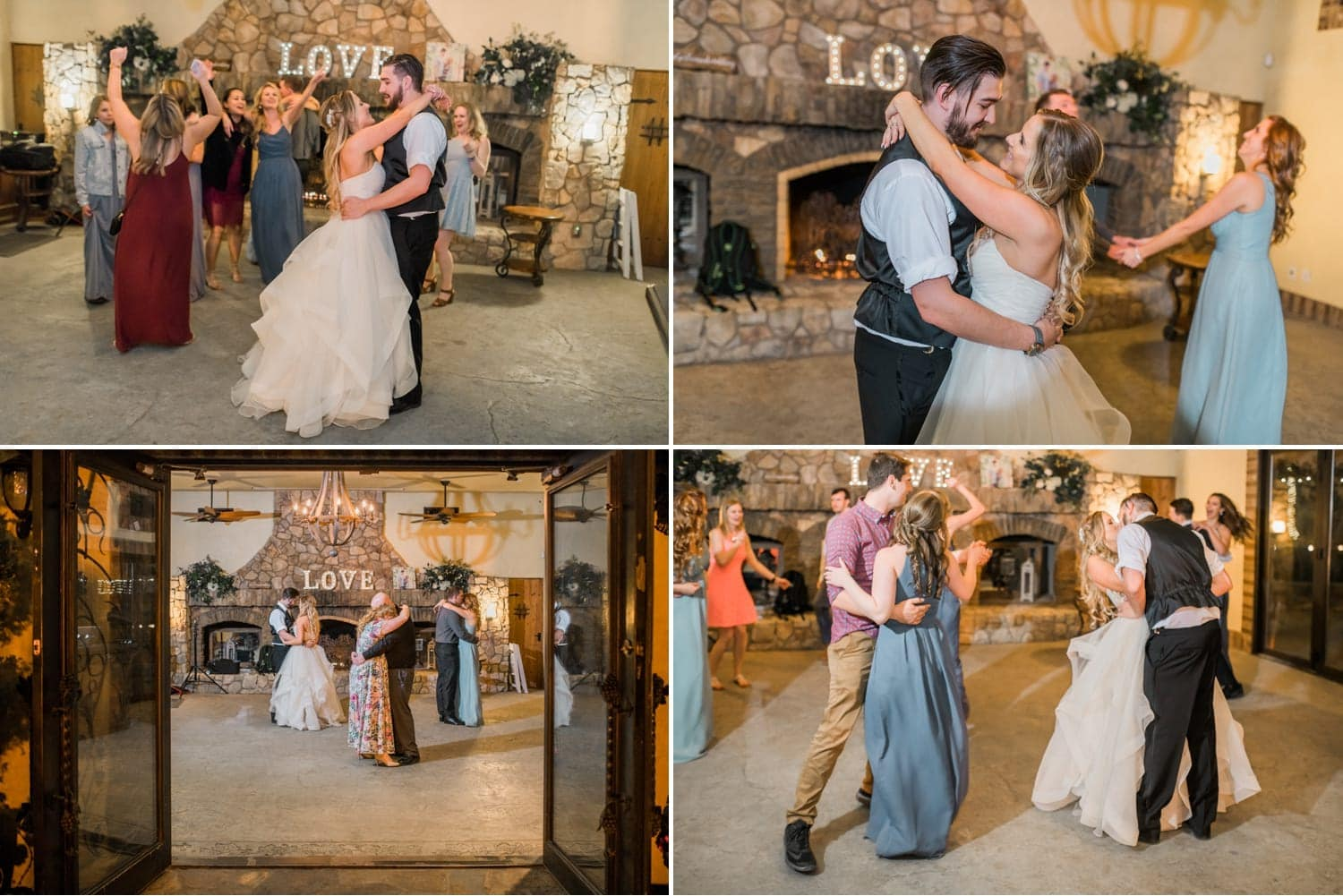 Couples dancing at the wedding reception.