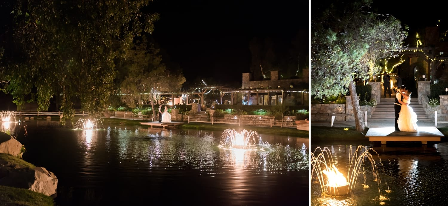 Night photography on the dock at Lake Oak Meadows wedding venue.