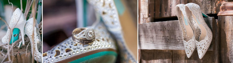Betsy Johnson bridal shoes and wedding rings.