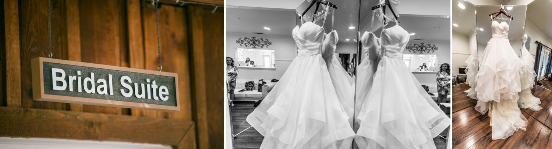 Wedding dress hanging on a mirror.