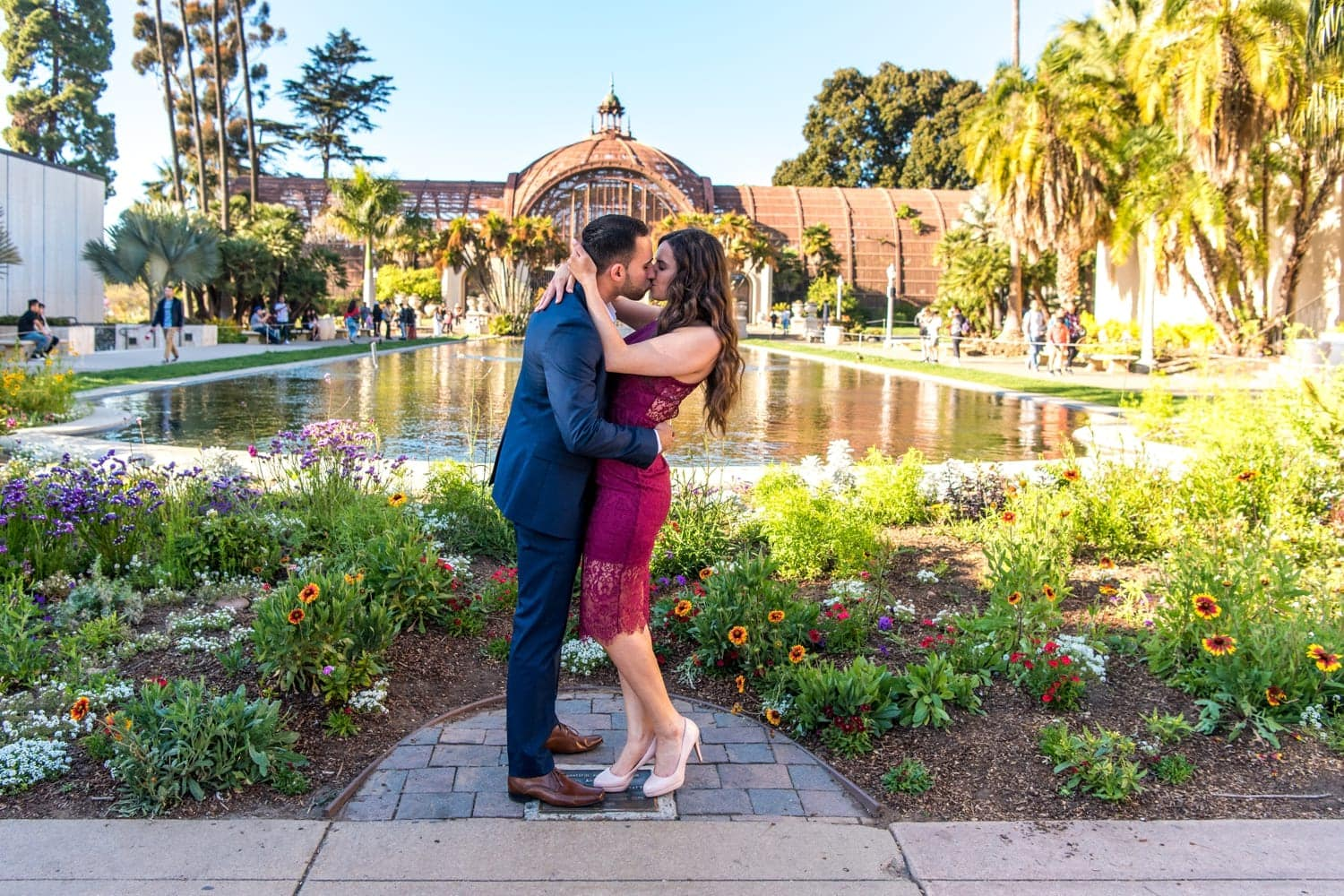 Engagement photos in front of the lily pond at Balboa Park.