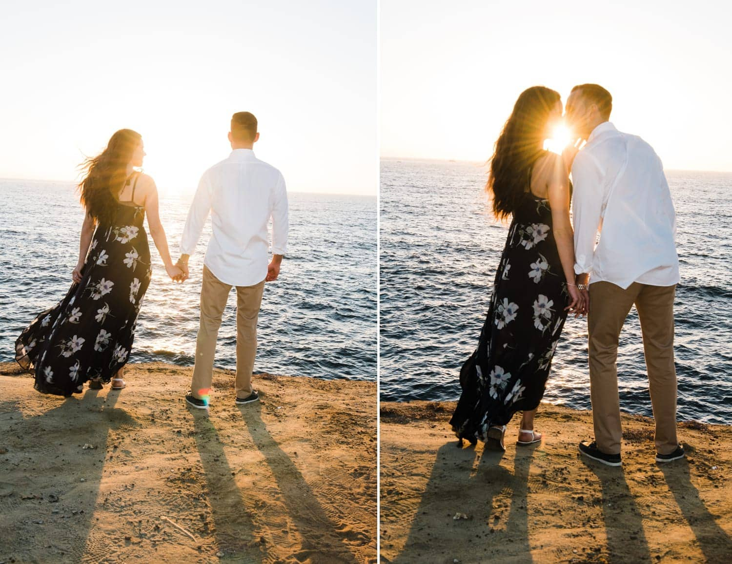 Couple kissing with the sun setting behind them.