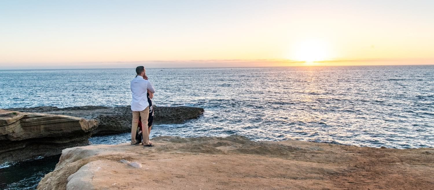 Engagement session at sunset in San Diego.
