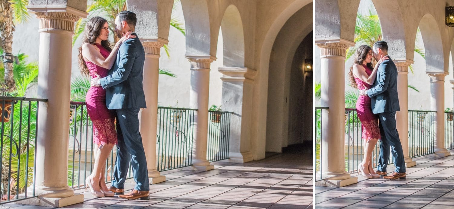 Engagement photography by the Prado in Balboa Park.