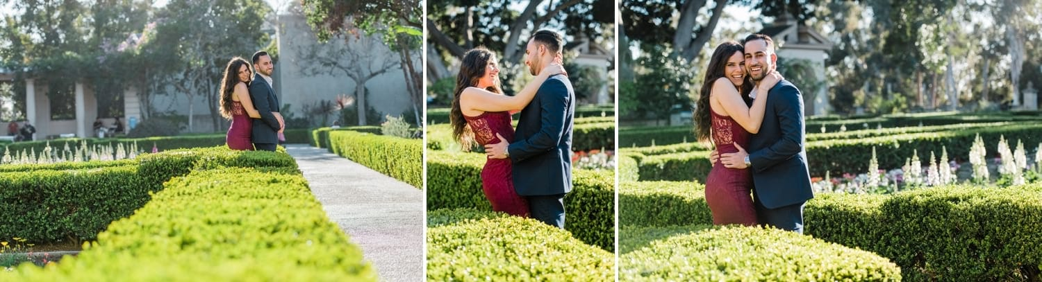Couple in the gardens at Balboa Park.