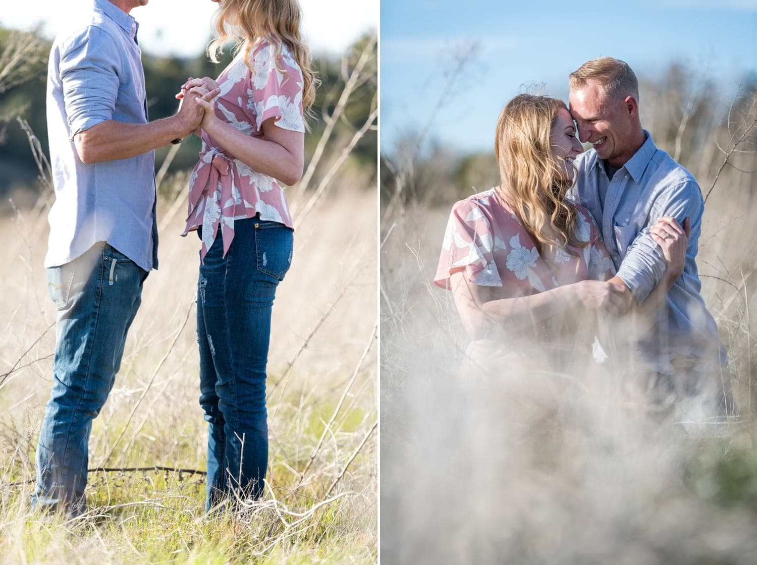 Couple in a field for their engagement session.