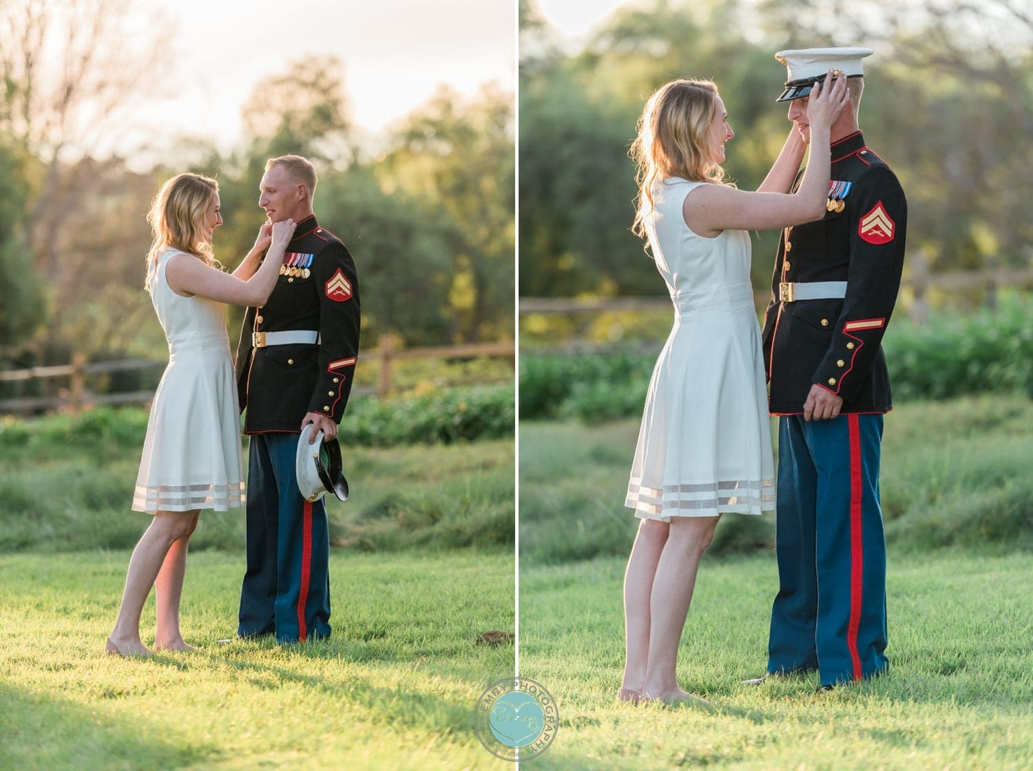 Marine and his bride to be in dress uniform for their engagement photography session.