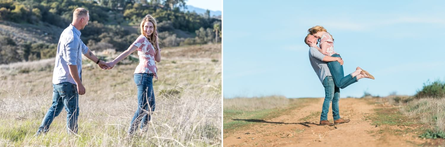 Engagement photography session on a dirt road.