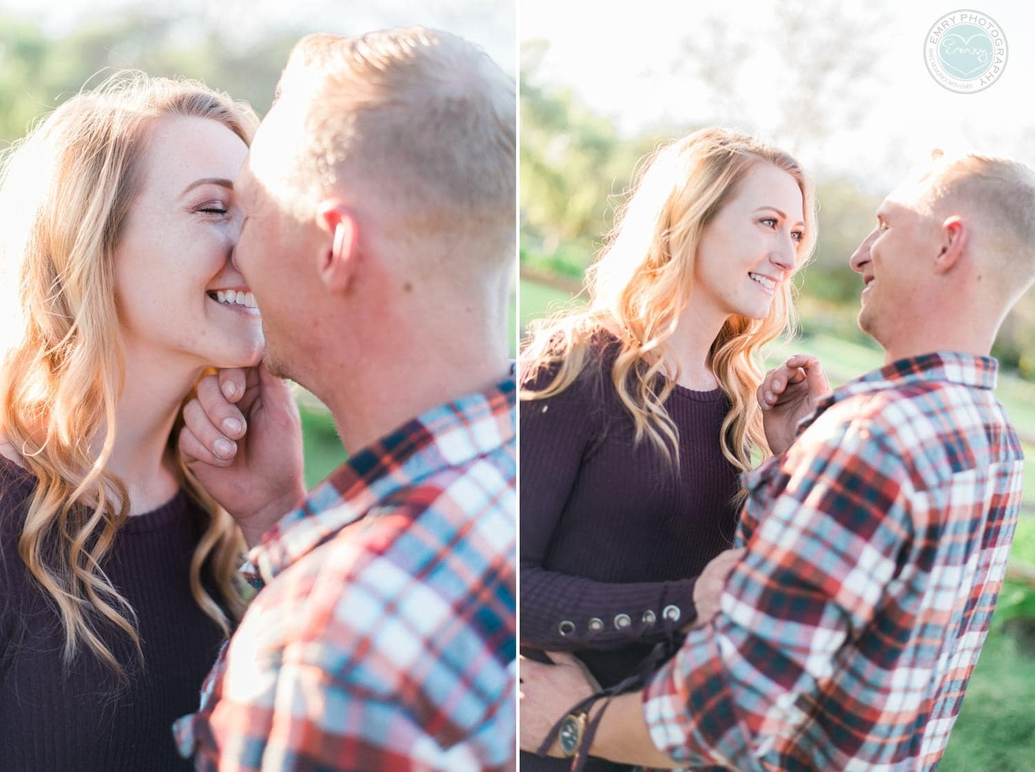 Guy kissing his fiance for their engagement session in Fallbrook, CA.