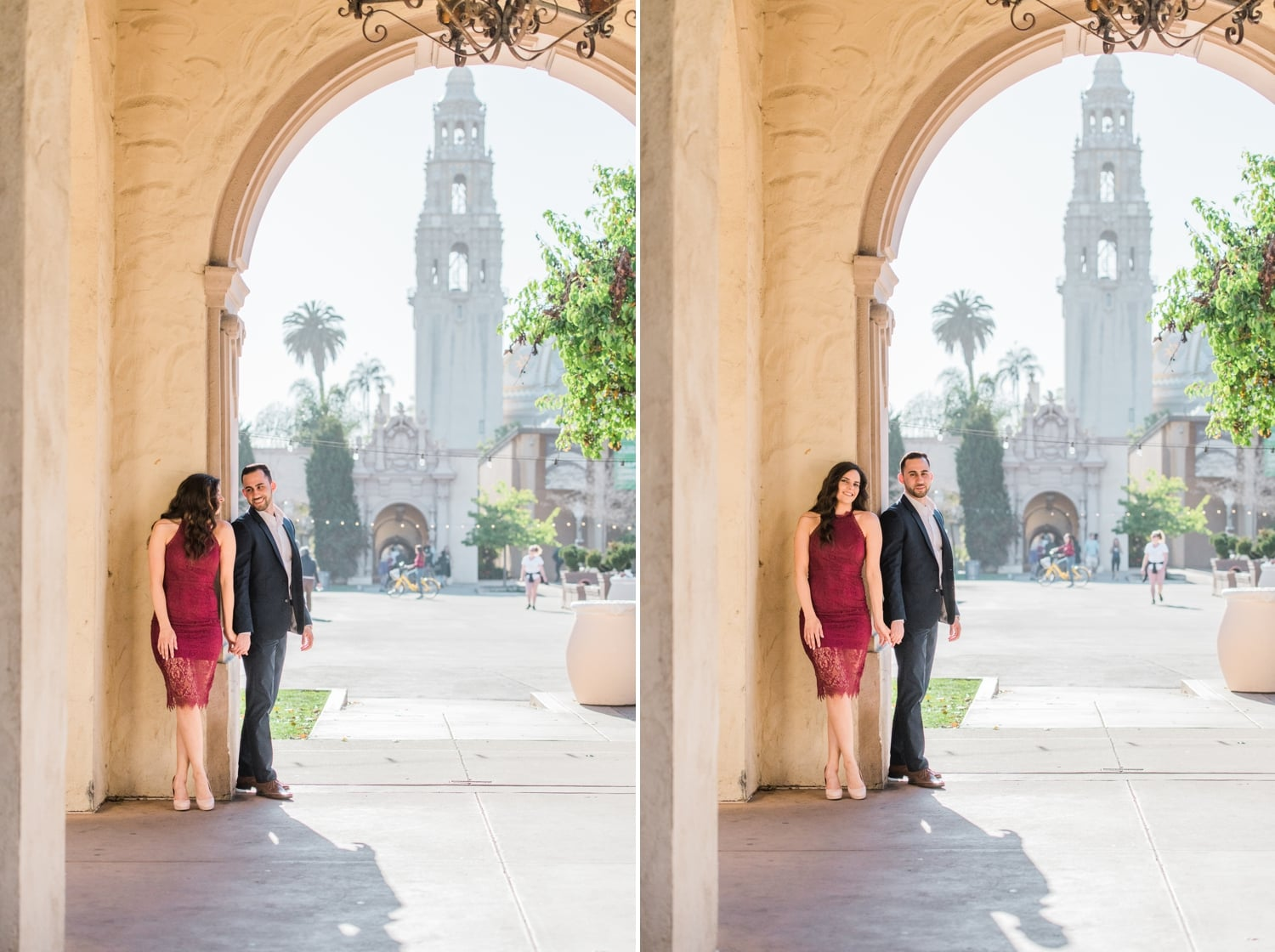 Couple leaning against a wall at Balboa Park.