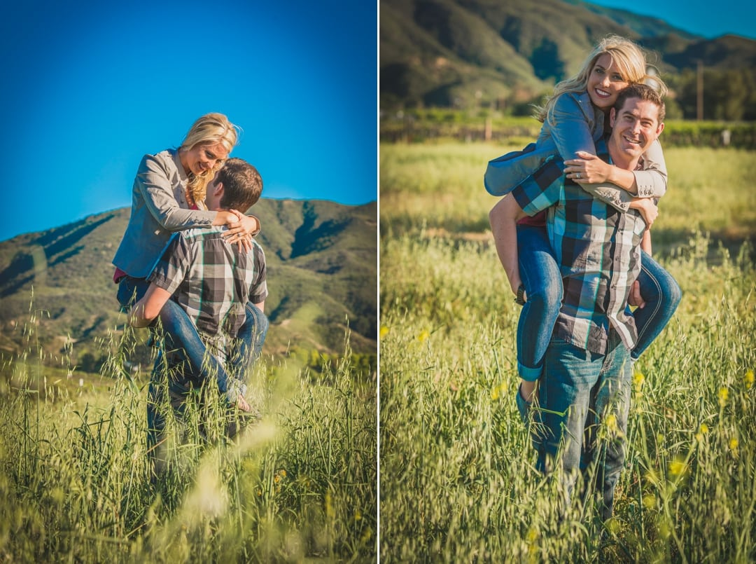 Couple standing in a field in Temecula for their engagement photography session.