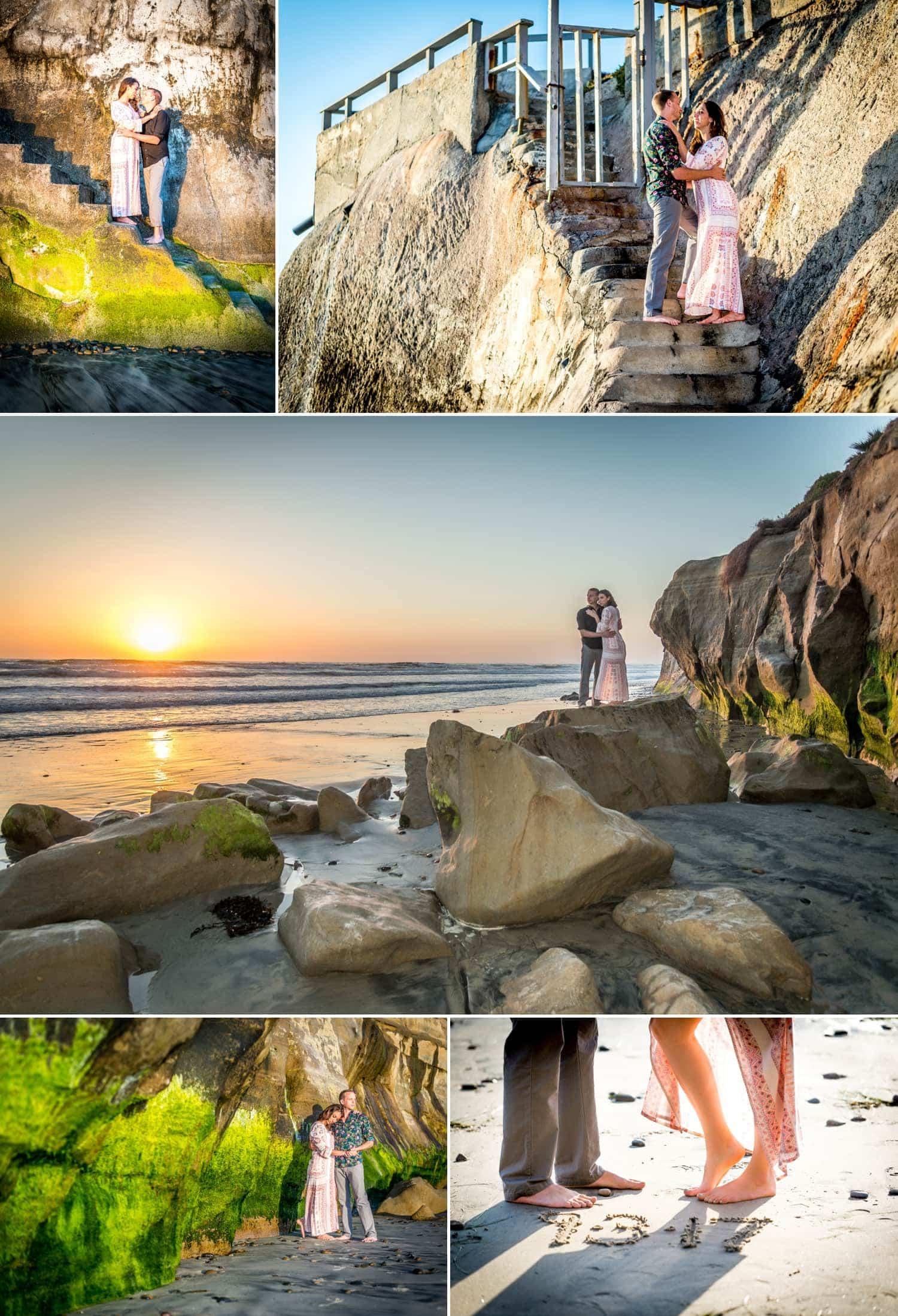 Couples on the beach in San Diego for their engagement session.