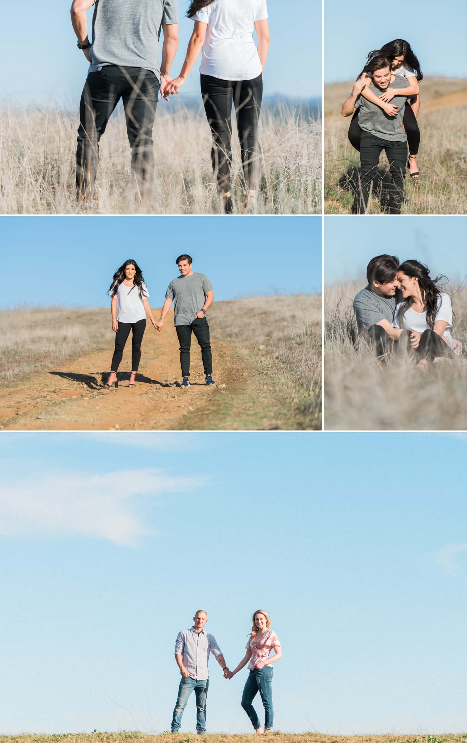 Couple standing in a field for their engagement session in Fallbrook.