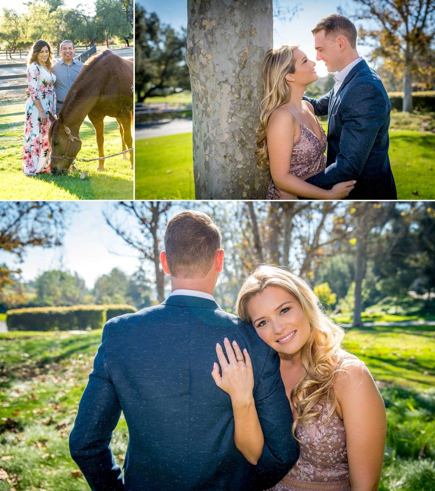 Couple posing for a photo with a horse.