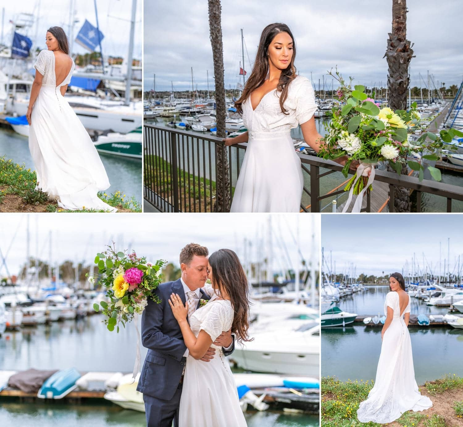 Bride and groom at Harbor View Loft wedding venue in San Diego