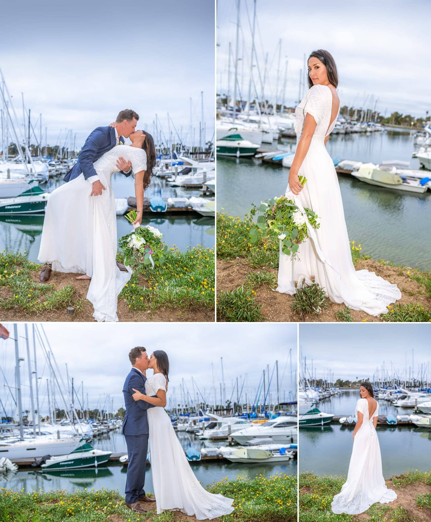 Bride and groom kissing in front of boats at Harbor View Loft.