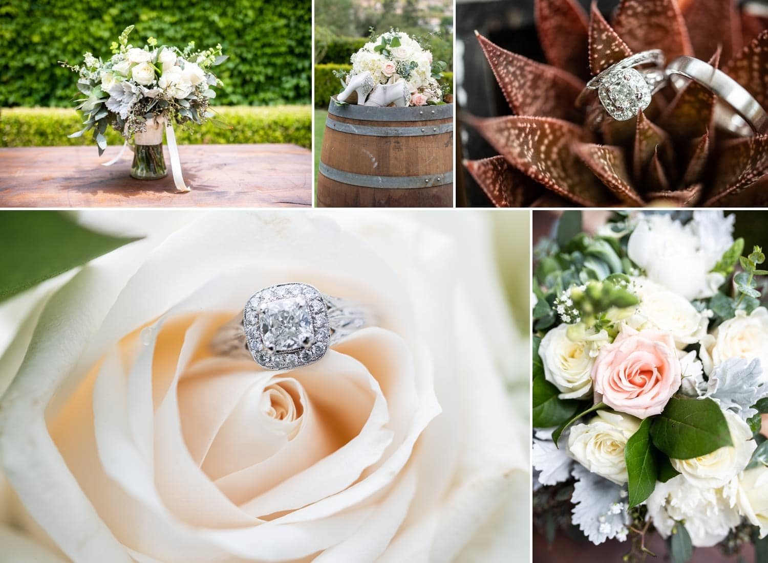 Bouquet and wedding ring on a wine barrel.