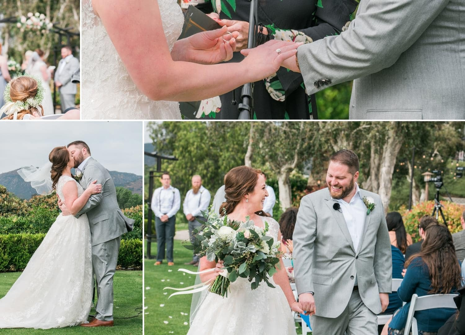 Bride and groom at ceremony at Twin Oaks Golf Course.