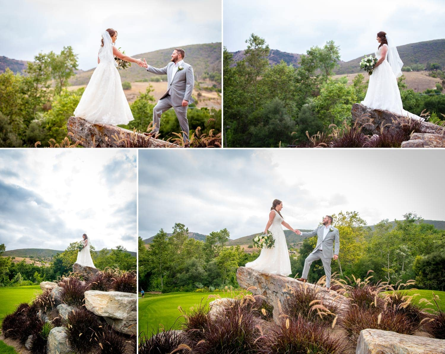 Bride and groom standing on top of a rock at Twin Oaks Golf Course.